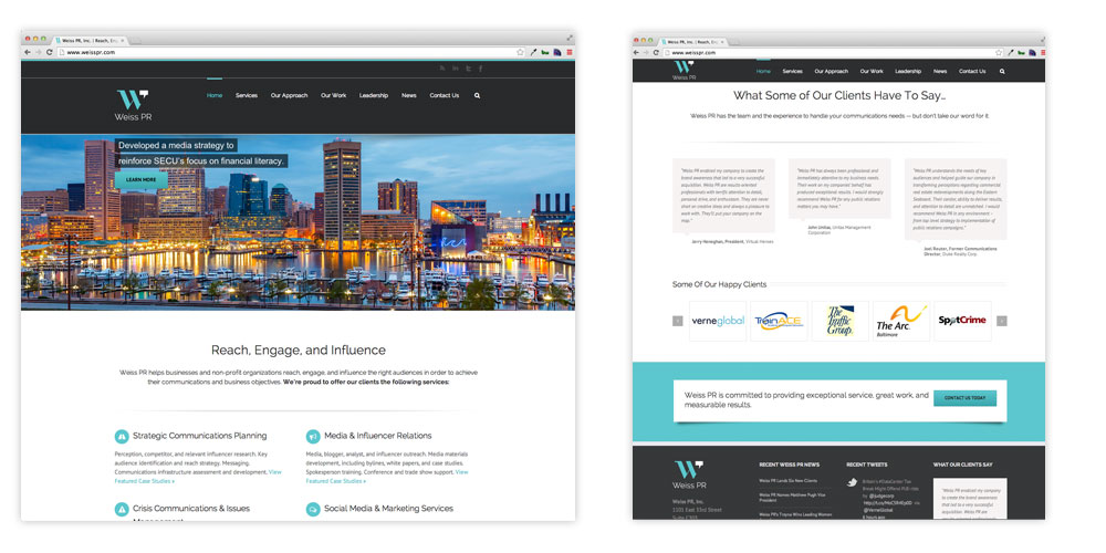 Weiss PR website Design by O'Dell Graphic Solutions
