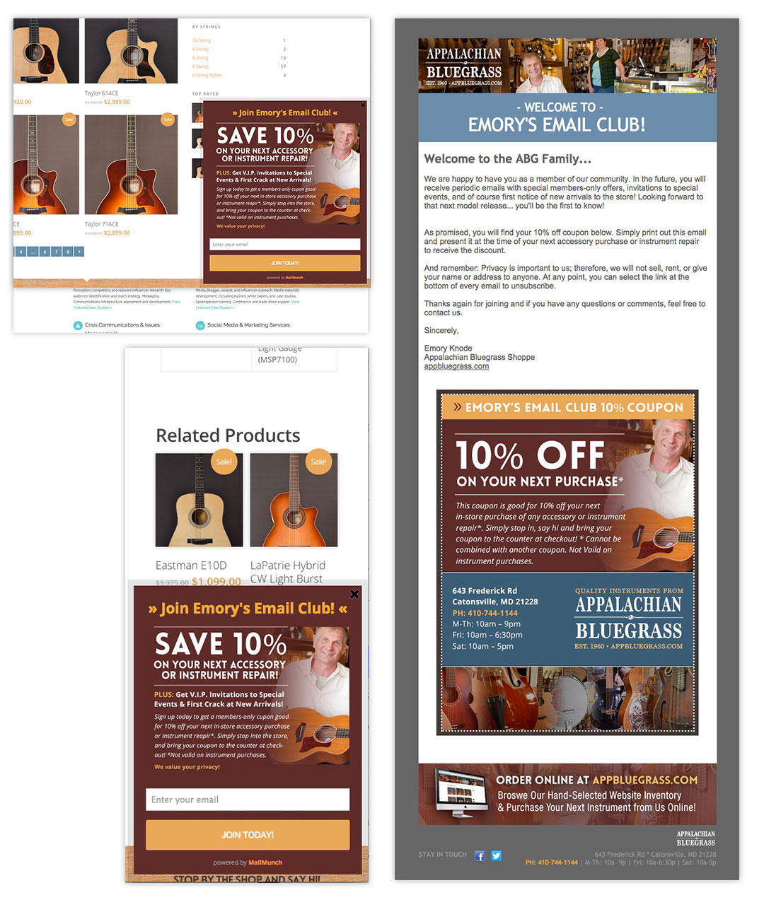 Appalachian Bluegrass Shoppe Mobile-friendly Responsive Email Template and Pop-Up by O'Dell Graphic Solutions